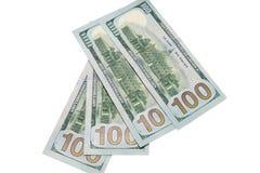 Quattro banconote di cento dollari Immagine Stock Libera da Diritti