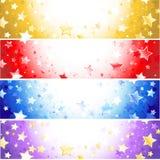 Quattro bandiere con le stelle scintillanti Immagini Stock