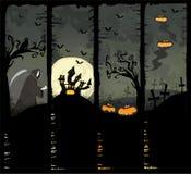 Quattro bandiere di Halloween Fotografia Stock
