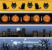 Quattro bandiere di Halloween Immagine Stock