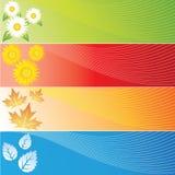 Quattro bandiere di stagioni Fotografia Stock Libera da Diritti