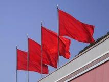 Quattro bandiere rosse Fotografia Stock Libera da Diritti
