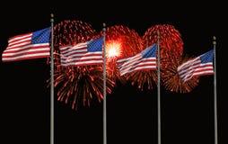 Quattro bandierine e fuochi d'artificio degli Stati Uniti Fotografia Stock Libera da Diritti