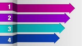 Quattro barre quadrate della freccia, grafico della casella titolo di introduzione, modello di presentazione di PowerPoint illustrazione di stock
