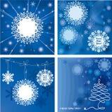 Quattro belle schede del regalo di nuovo anno Immagini Stock