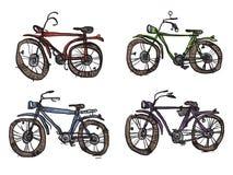 Quattro biciclette, uno stile primitivo Fotografie Stock Libere da Diritti