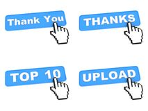 Quattro bottoni blu di web con il cursore della mano Immagini Stock