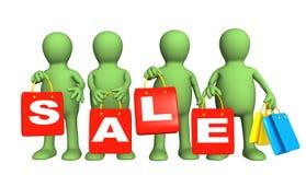 Quattro burattini con i pacchetti sulla vendita illustrazione di stock