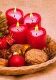 Quattro candele rosse di avvenimento. Immagine Stock Libera da Diritti