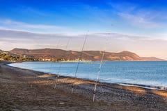 Quattro canne da pesca Immagine Stock