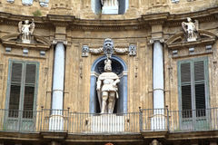 Quattro Canti, Baroque Houses in Palermo. Royalty Free Stock Image