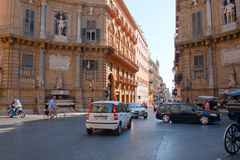 Quattro Canti -  baroque square in Palermo, Sicily Royalty Free Stock Photos