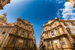 Quattro Canti fyrkant i Palermo, Italien Arkivbilder