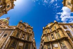 Quattro Canti fyrkant i Palermo, Italien arkivfoto