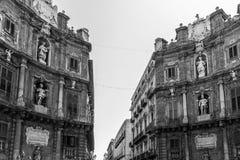 Quattro Canti in Palermo (four corners). Retro style picture of the Quattro Canti in Palermo (four corners Stock Photography