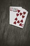 Quattro carte da gioco d'annata del gioco del poker di re Fotografie Stock
