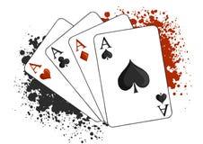Quattro carte da gioco del poker degli assi su fondo bianco illustrazione vettoriale