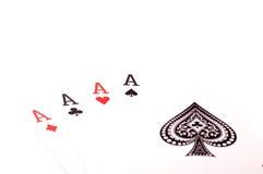 Quattro carte degli assi Fotografia Stock