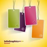 Quattro carte multicolori d'attaccatura Immagine Stock