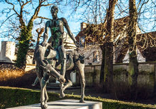 Quattro cavallerizzi della statua di apocalisse a Bruges, Belgio Fotografie Stock