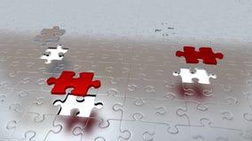 Quattro che Grey Puzzle Piece è riuscito a sfuggire a dall'altro Grey Pieces diventano rossi royalty illustrazione gratis