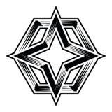 Quattro clipart hexa di vettore del poligono della stella del punto 4point Fotografie Stock Libere da Diritti