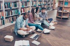 Quattro compagni di classe internazionali concentrati allegri stanno sedendo Immagine Stock Libera da Diritti