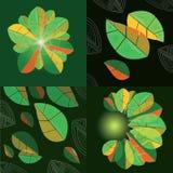 Quattro composizioni con le foglie astratte royalty illustrazione gratis