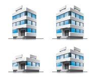 Quattro costruzioni di vettore dell'ufficio del fumetto. Fotografie Stock Libere da Diritti