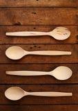 Quattro cucchiai di legno Fotografia Stock Libera da Diritti