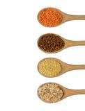 Quattro cucchiai di legno in pieno dei grani Immagine Stock Libera da Diritti