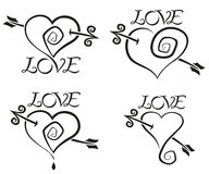 Quattro cuori illustrazione vettoriale