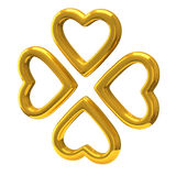 Quattro cuori dorati come trifoglio 3d del quattro-foglio Fotografia Stock Libera da Diritti