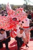 Quattro danzatori che attendono per creare il ballo del drago Fotografie Stock Libere da Diritti