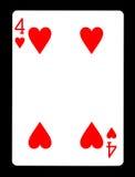 Quattro della carta da gioco dei cuori, Fotografie Stock