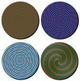 Quattro dischi circolari modellati a spirale 3D Fotografia Stock