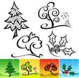 Quattro disegni calligrafici naturali di stagioni Fotografia Stock