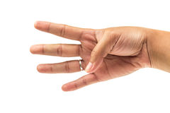 Quattro dito e mano contano il numero quattro su fondo bianco isolato Immagini Stock Libere da Diritti