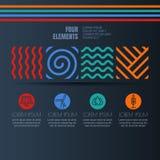 Quattro elementi sottraggono i simboli e le icone lineari dell'energia alternativa su fondo nero Immagine Stock