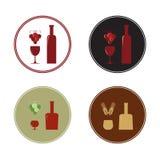 Quattro etichette per vino, brandy, whiskey, Fotografia Stock