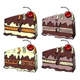 Quattro fette di dolce di cioccolato Fotografia Stock