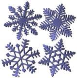 Quattro fiocchi di neve 3D Fotografia Stock