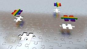 Quattro fori bianchi nel puzzle collega il pavimento con tre pezzi dell'arcobaleno Immagini Stock Libere da Diritti