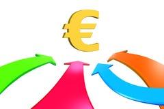 Quattro frecce di colore vanno verso l'euro simbolo, la rappresentazione 3D Fotografia Stock