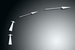 Quattro frecce sul gradiente grigio Fotografia Stock Libera da Diritti