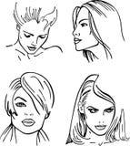 Quattro fronti descritti donne () illustrazione di stock