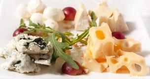 Quattro generi di formaggio su una zolla Fotografia Stock Libera da Diritti