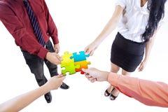 Puzzle della costruzione di gruppo di affari Fotografie Stock