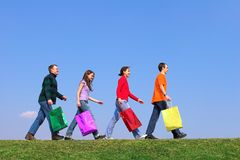 Quattro giovani con colore P Fotografie Stock Libere da Diritti
