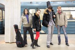 Quattro giovani musicisti Fotografie Stock Libere da Diritti